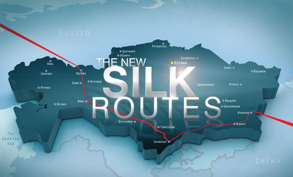 """The New Silk Routes"" title treatment"