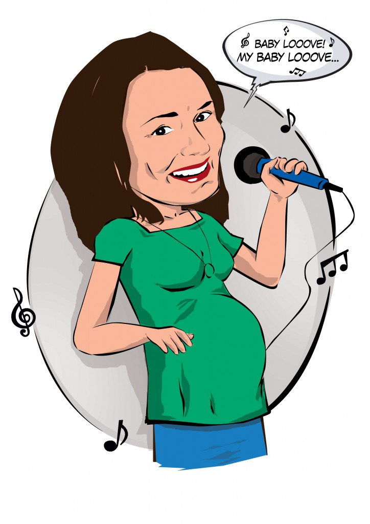Office caricature for a colleague who left on maternity leave.