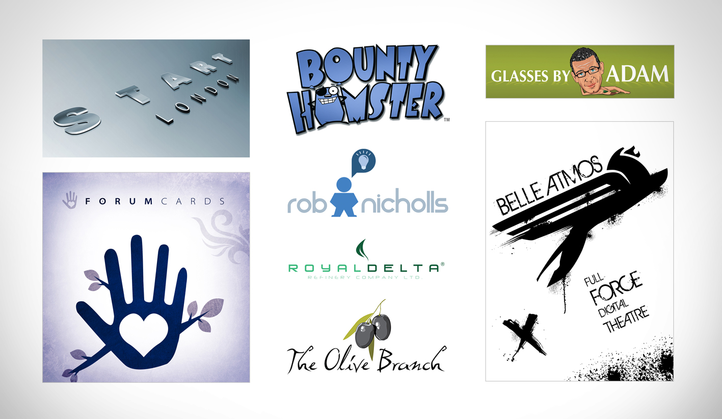Logos, title treatments and branding examples